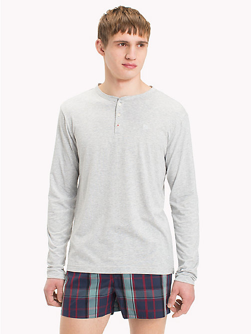 TOMMY HILFIGER Long-Sleeve Henley T-Shirt - GREY HEATHER - TOMMY HILFIGER Pyjama Tops - main image
