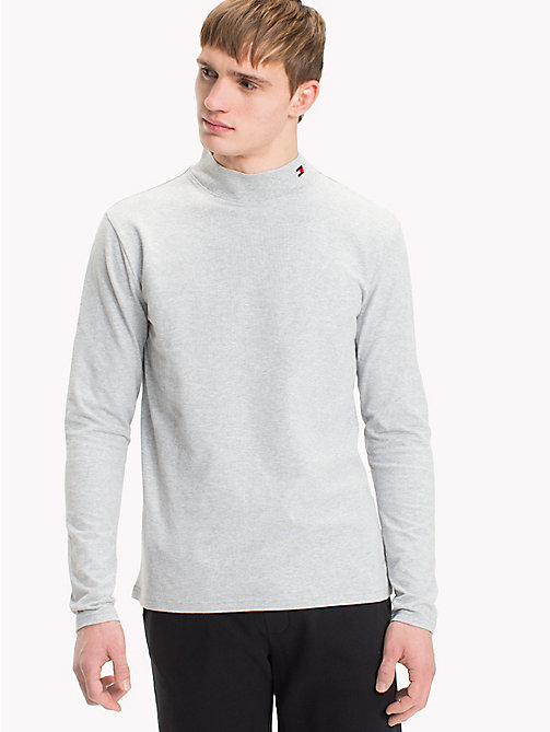TOMMY HILFIGER Mock Neck Sweatshirt - GREY HEATHER - TOMMY HILFIGER Pyjama Tops - main image
