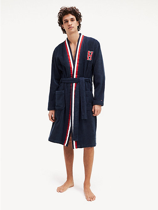 TOMMY HILFIGER Monogram Bathrobe - NAVY BLAZER - TOMMY HILFIGER Bathrobes - main image