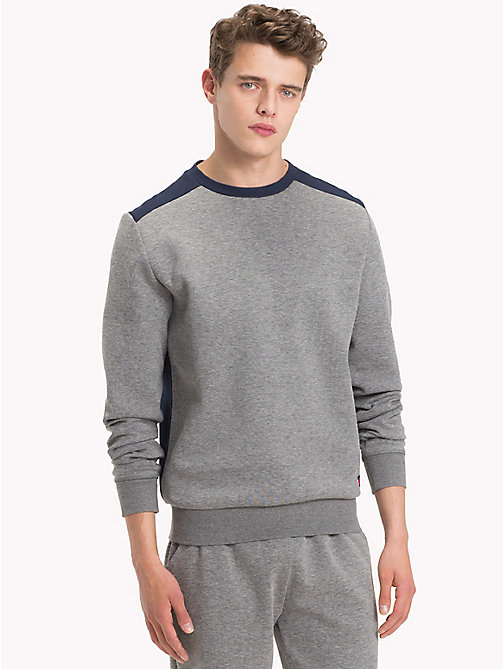 TOMMY HILFIGER Colour-Blocked Sweatshirt - GREY HEATHER - TOMMY HILFIGER Pyjama Tops - main image
