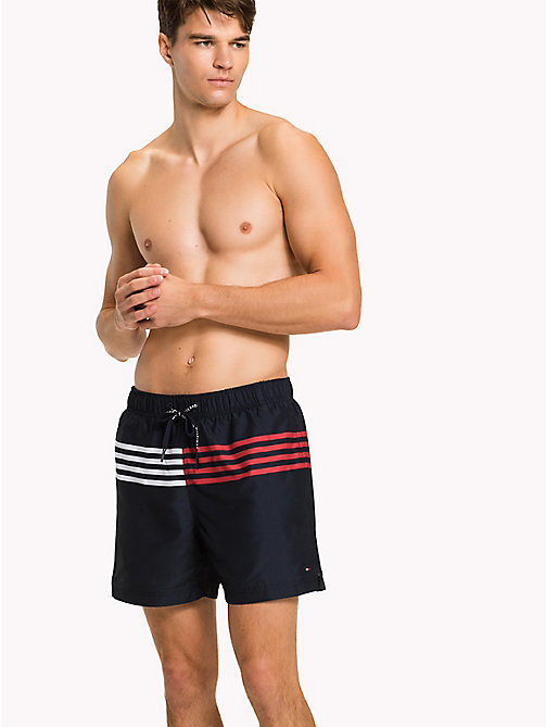 TOMMY HILFIGER Stripe Drawstring Swim Shorts - Big & Tall - NAVY BLAZER - TOMMY HILFIGER Swim styles - main image