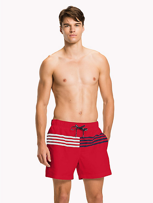 TOMMY HILFIGER Stripe Drawstring Swim Shorts - Big & Tall - TANGO RED - TOMMY HILFIGER Underwear & Loungewear - main image