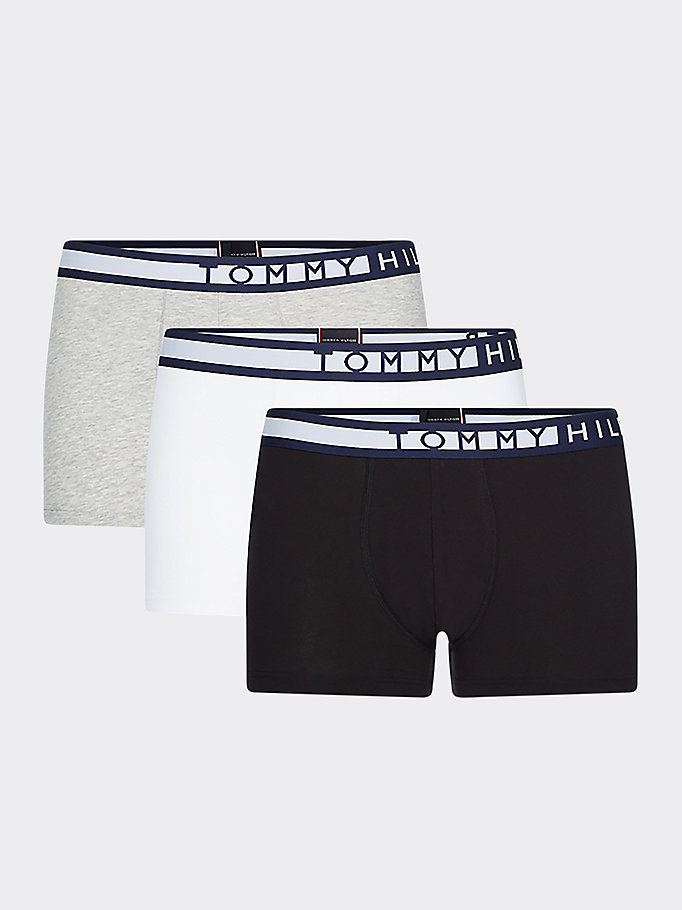 black 3-pack statement waistband trunks for men tommy hilfiger