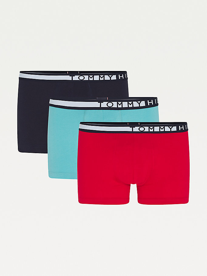 blue 3-pack statement waistband trunks for men tommy hilfiger