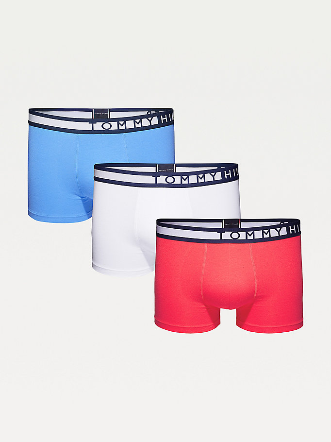 red 3-pack statement waistband trunks for men tommy hilfiger
