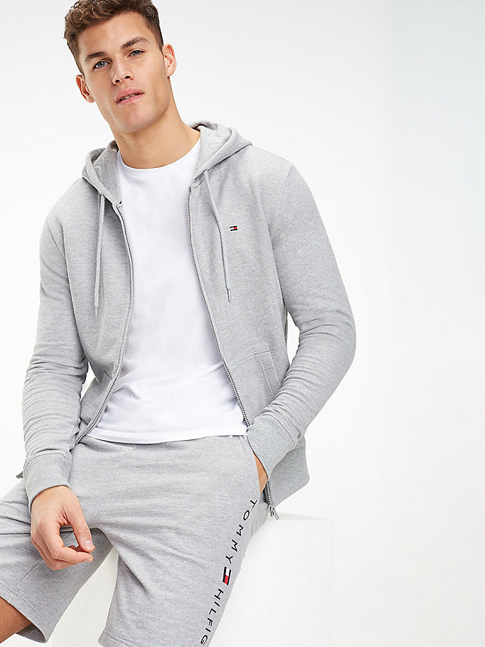 grey zip-thru hoody for men tommy hilfiger