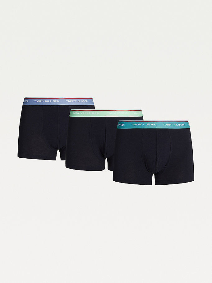 black 3-pack organic cotton trunks for men tommy hilfiger