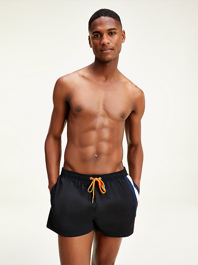 black colour-blocked short drawstring swim shorts for men tommy hilfiger