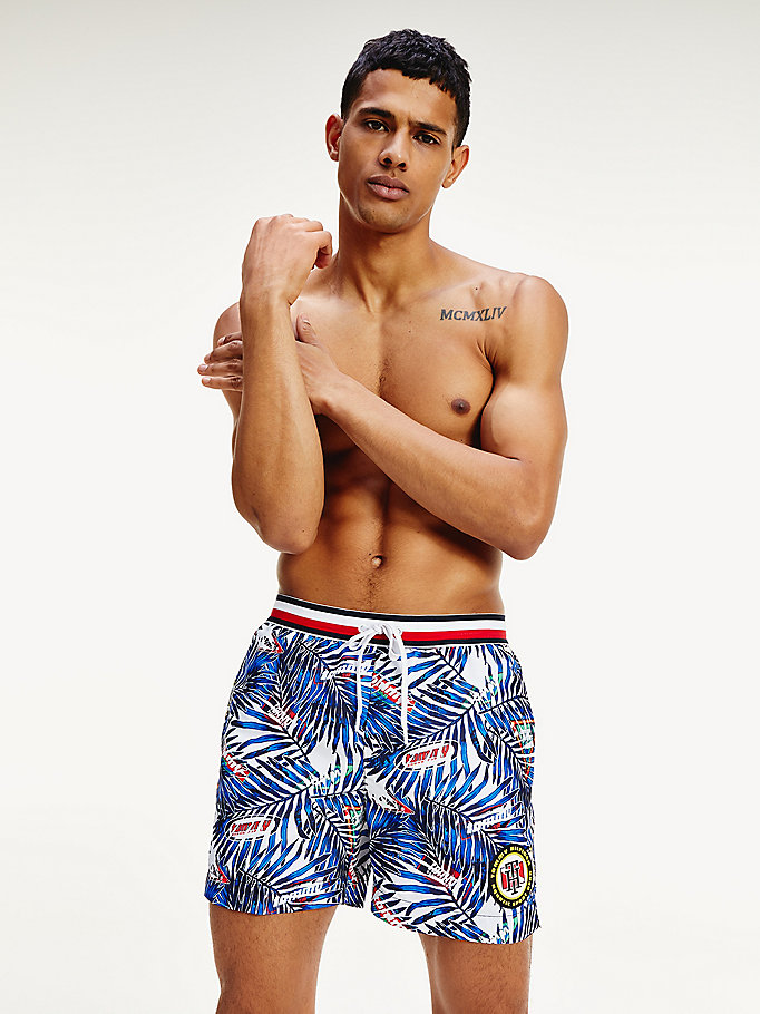 white tropical palm mid length swim shorts for men tommy hilfiger