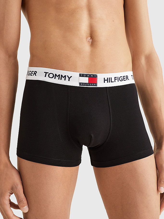 black logo waistband cotton blend trunks for men tommy hilfiger