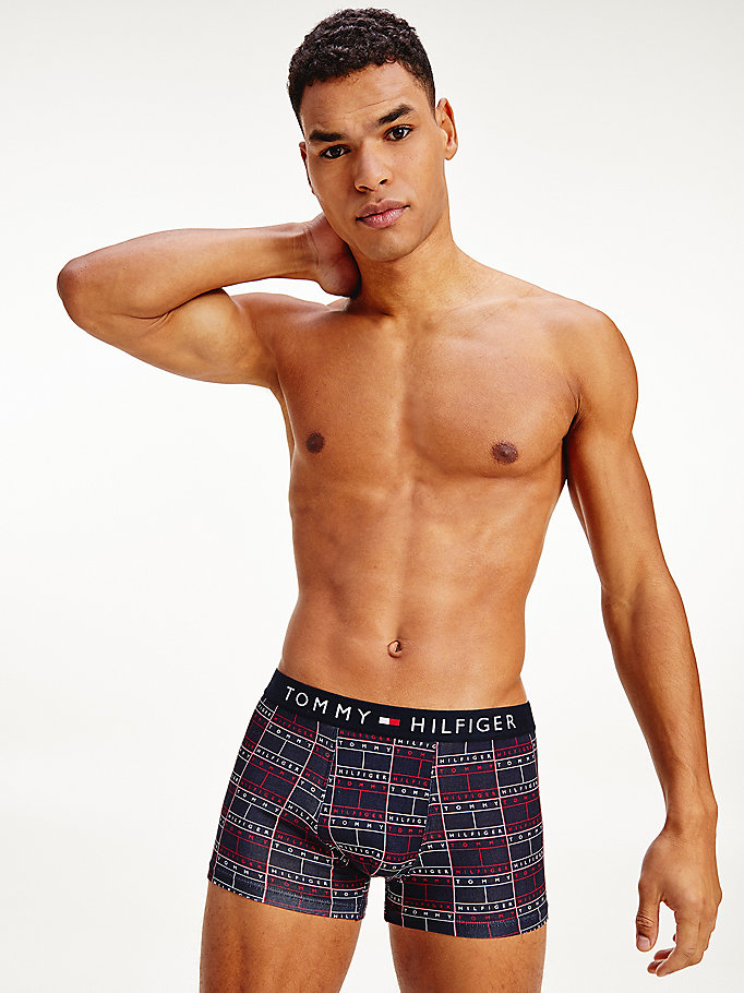 green all-over print cotton trunks for men tommy hilfiger