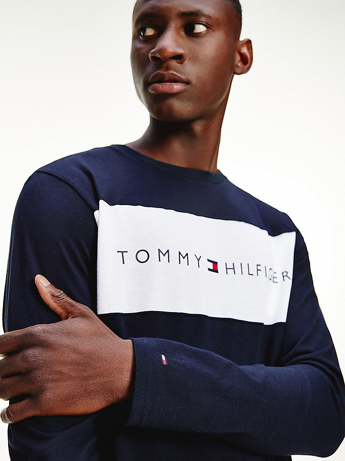 blue organic cotton long sleeve t-shirt for men tommy hilfiger