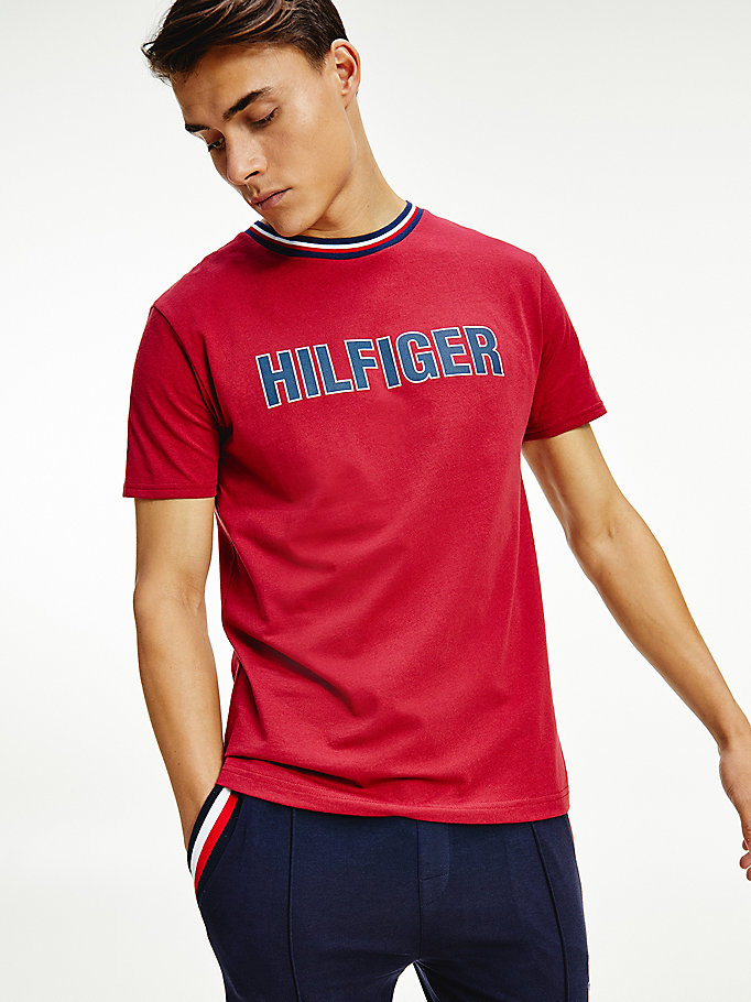 purple th modern signature tape lounge t-shirt for men tommy hilfiger
