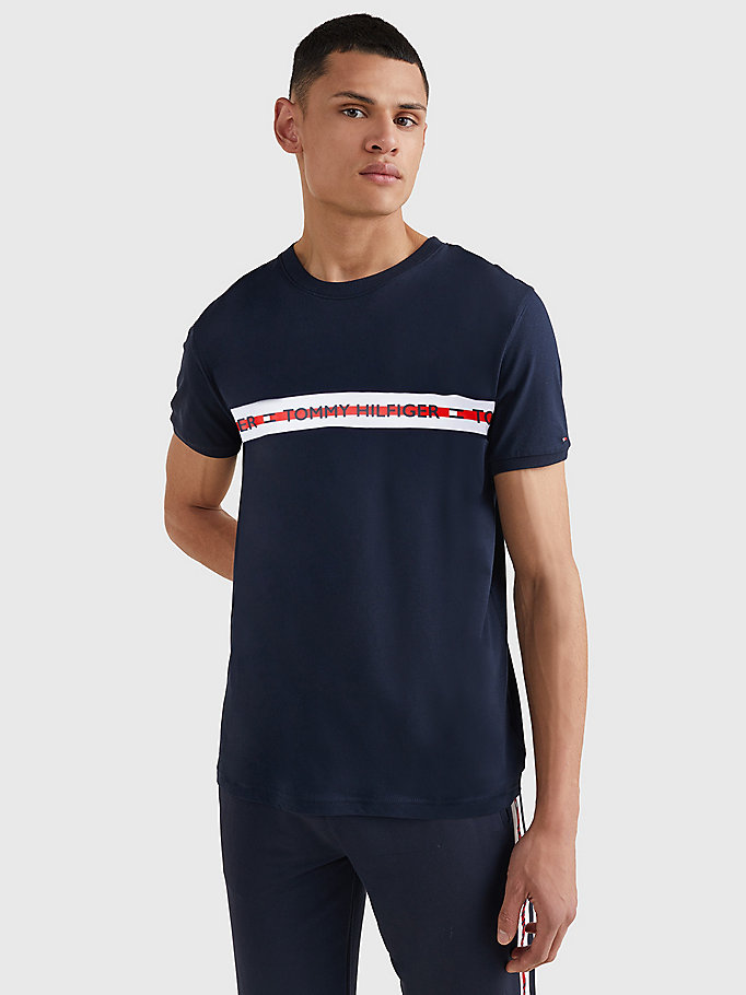 blue logo stripe t-shirt for men tommy hilfiger