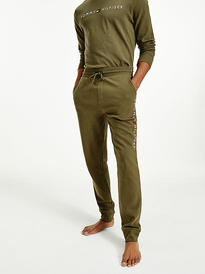 khaki ribbed organic cotton joggers for men tommy hilfiger