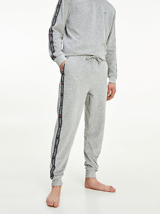 grey ribbed texture joggers for men tommy hilfiger