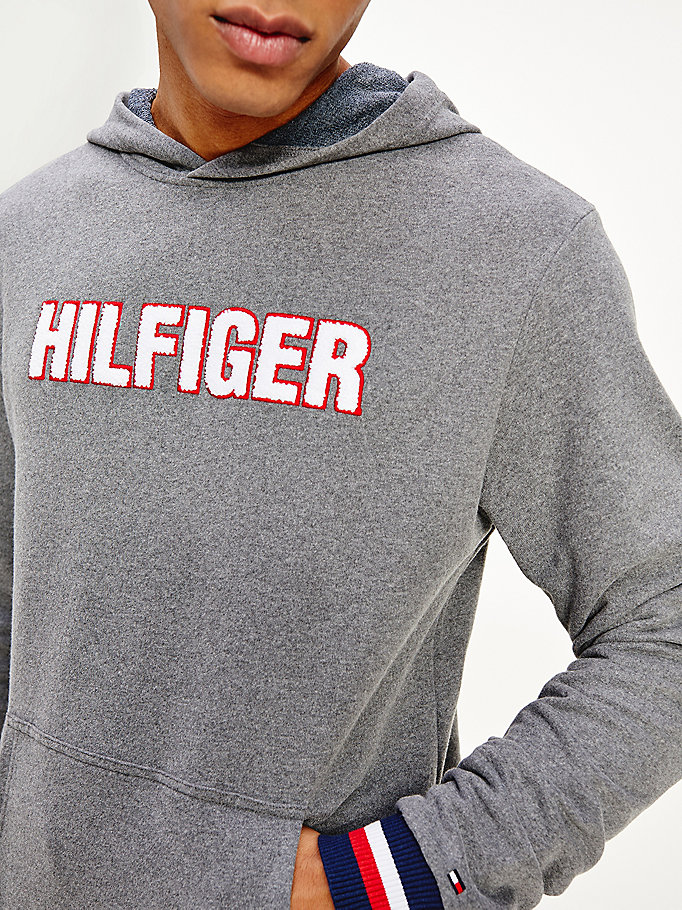grey hilfiger logo recycled cotton blend hoody for men tommy hilfiger