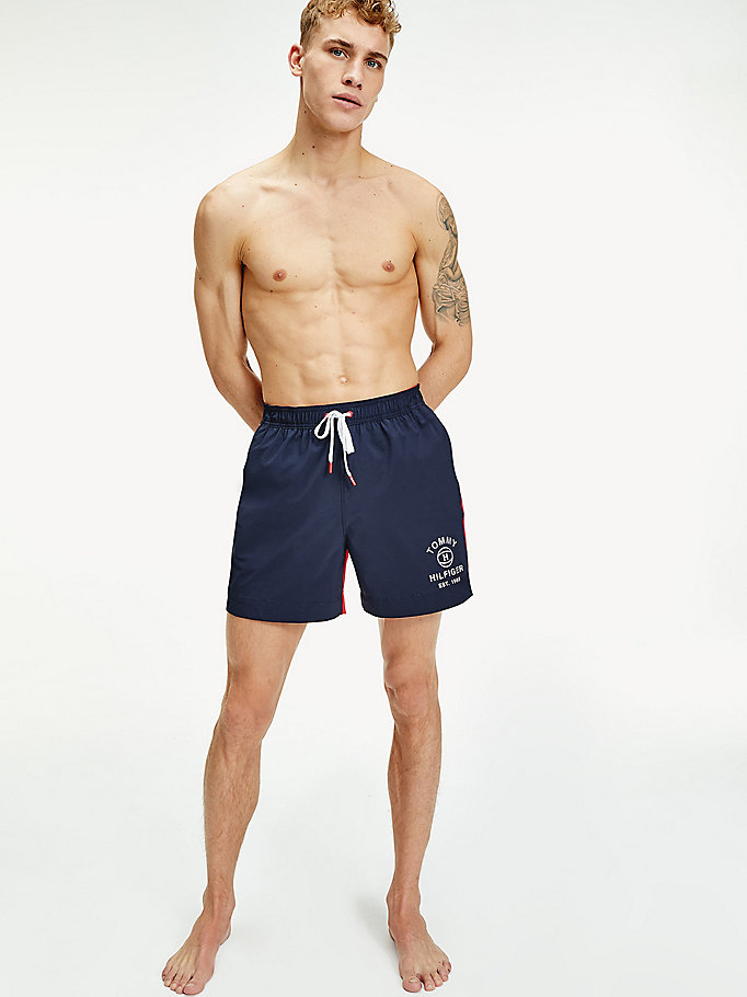 short de bain slim cordon colour-block bleu pour hommes tommy hilfiger