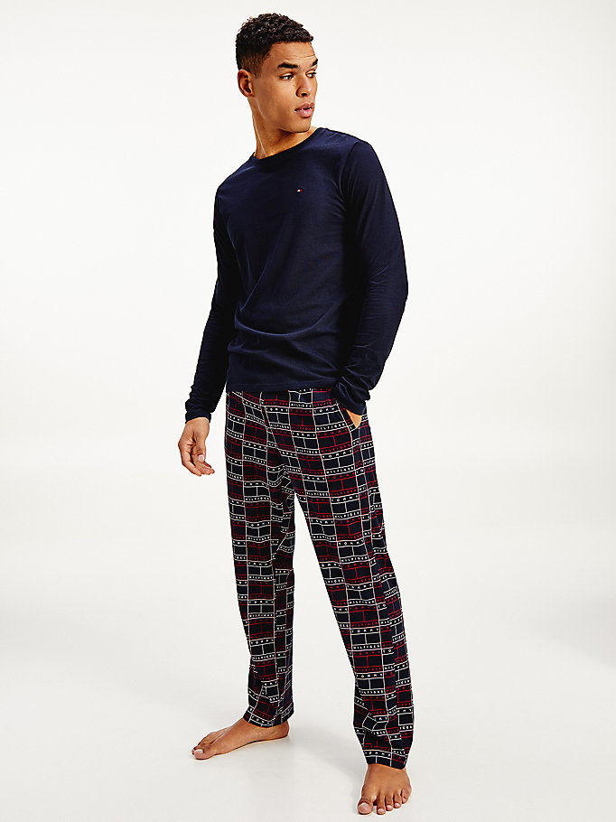 blue long sleeve pyjama set for men tommy hilfiger