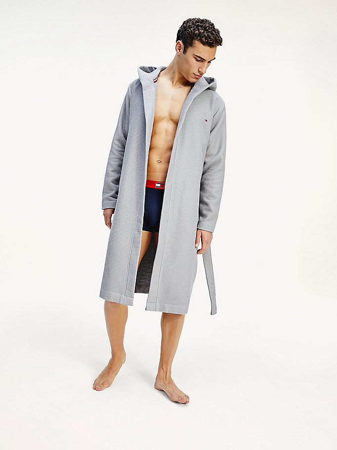 grey organic cotton waffle knit robe for men tommy hilfiger