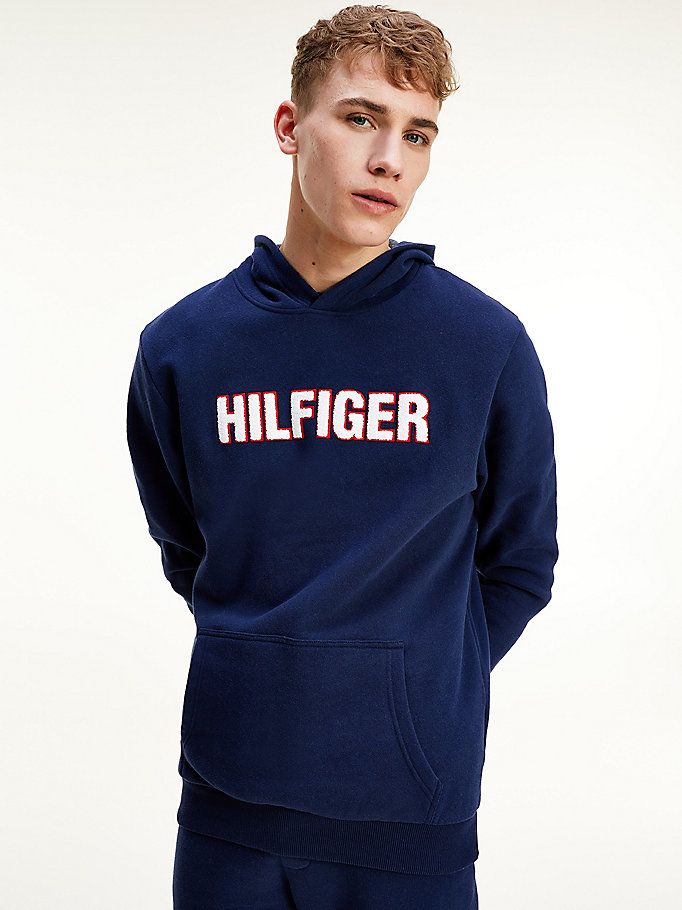 blue textured logo signature cuff hoody for men tommy hilfiger