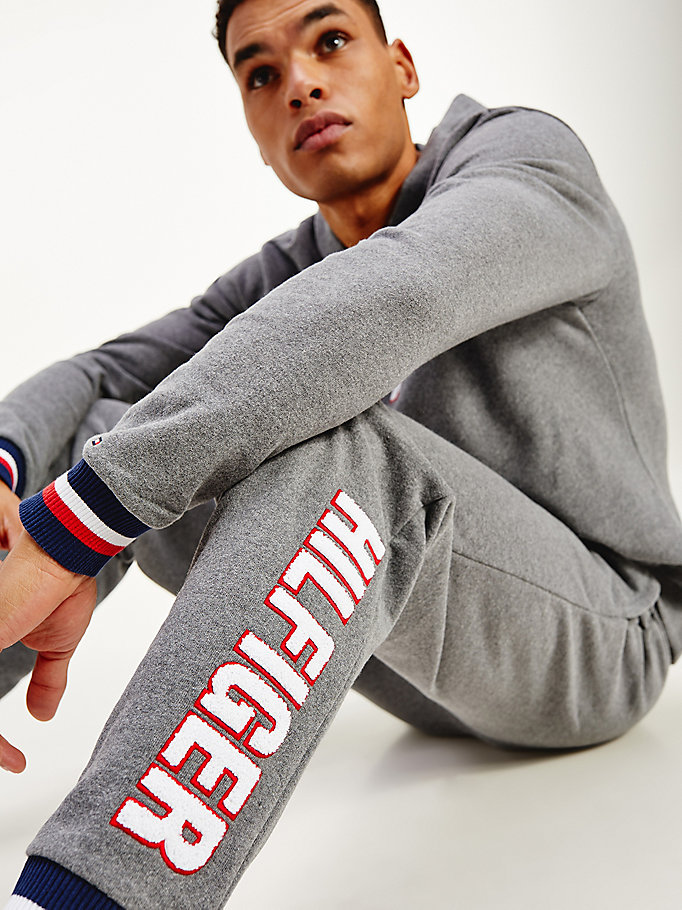 grey signature cuff tapered joggers for men tommy hilfiger