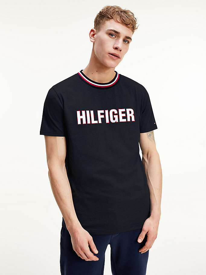 blue contrast collar logo t-shirt for men tommy hilfiger
