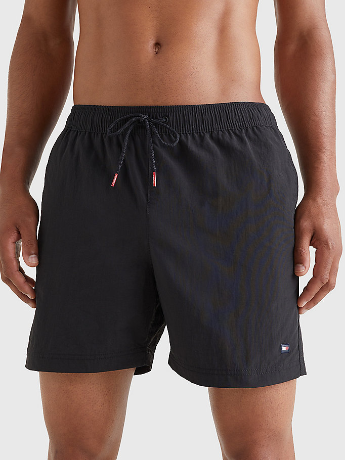 black slim fit mid length swim shorts for men tommy hilfiger