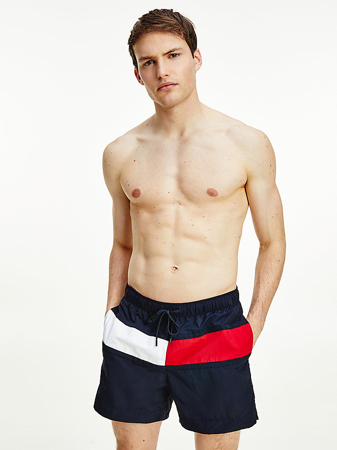 blue flag regular fit mid length swim shorts for men tommy hilfiger