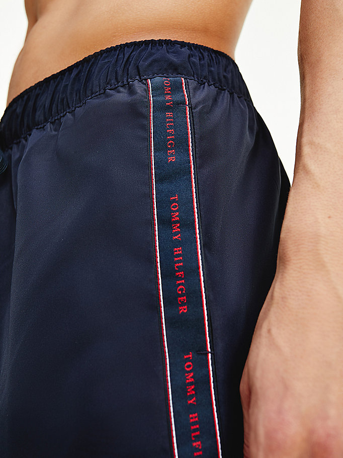 blue contrast stripe mid length swim shorts for men tommy hilfiger