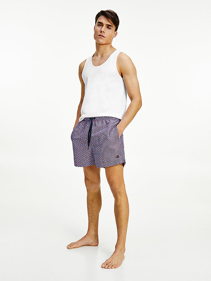 blue geometric print mid length swim shorts for men tommy hilfiger