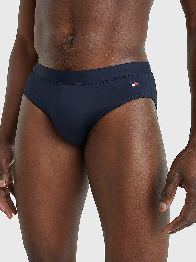 blue recycled nylon drawstring swim briefs for men tommy hilfiger