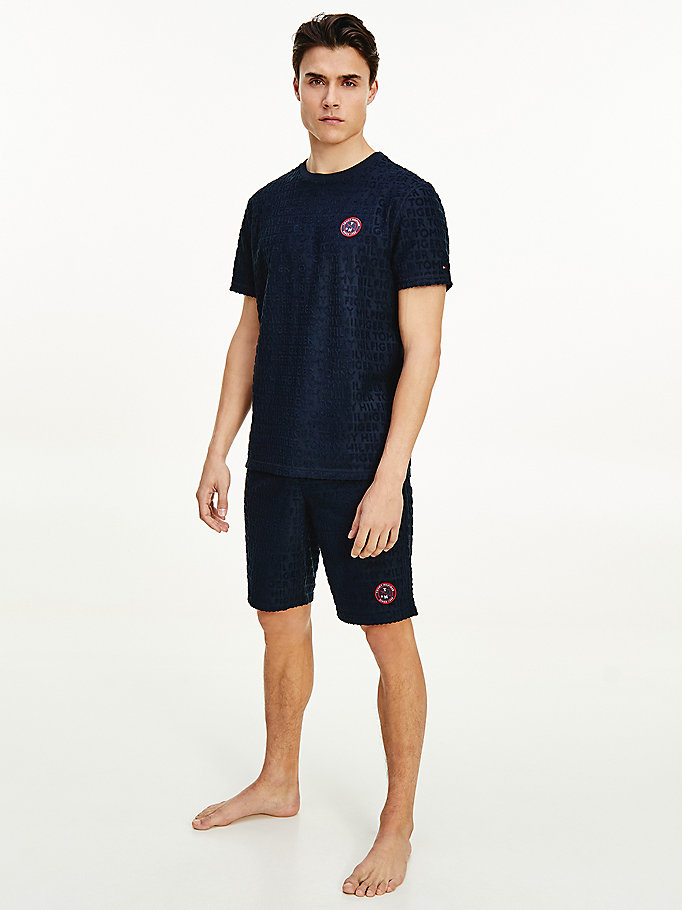 blue tonal repeat logo towelling t-shirt for men tommy hilfiger