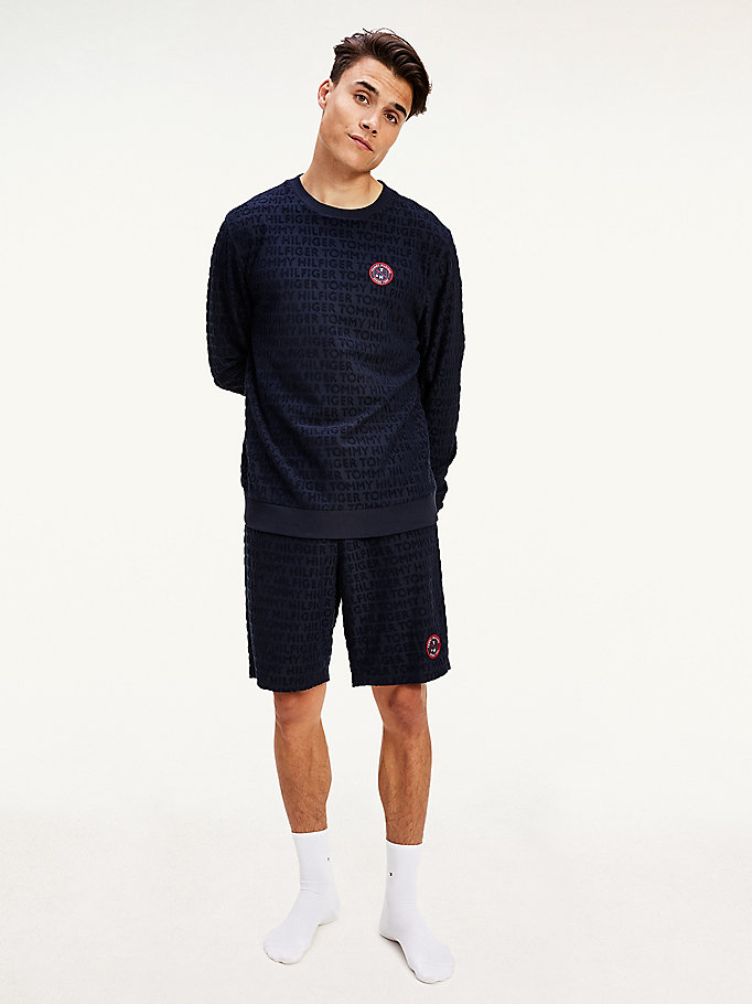 blue all-over logo towelling sweatshirt for men tommy hilfiger
