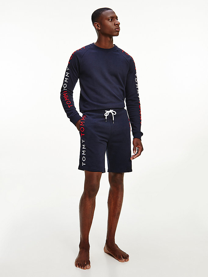 blue logo embroidery track shorts for men tommy hilfiger