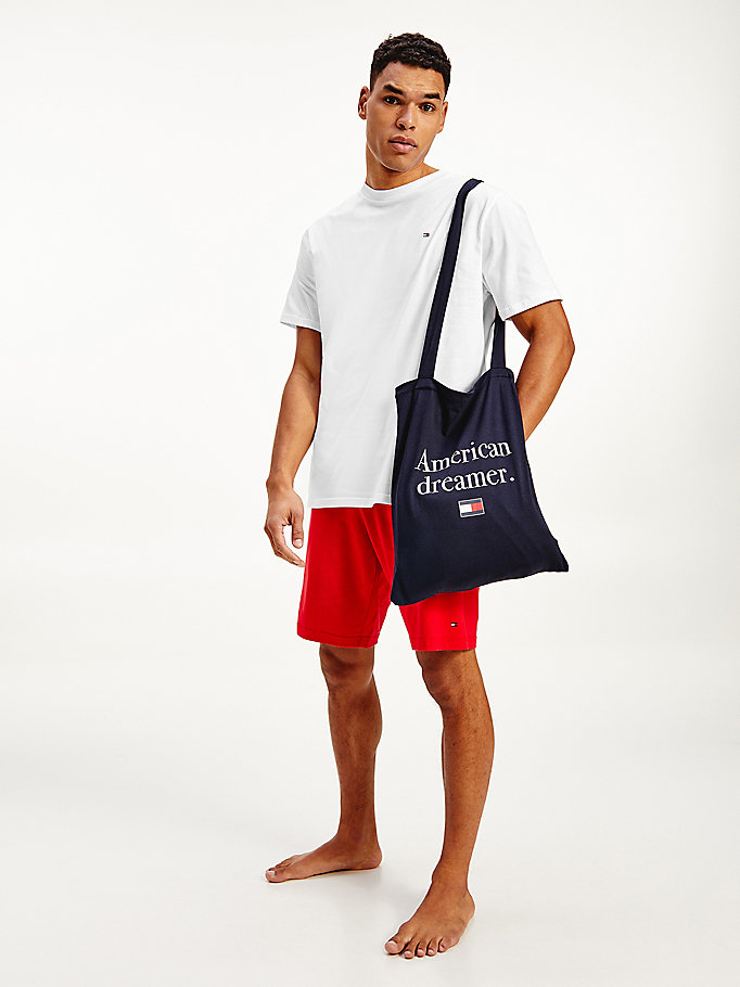 beige pyjama set in a bag for men tommy hilfiger