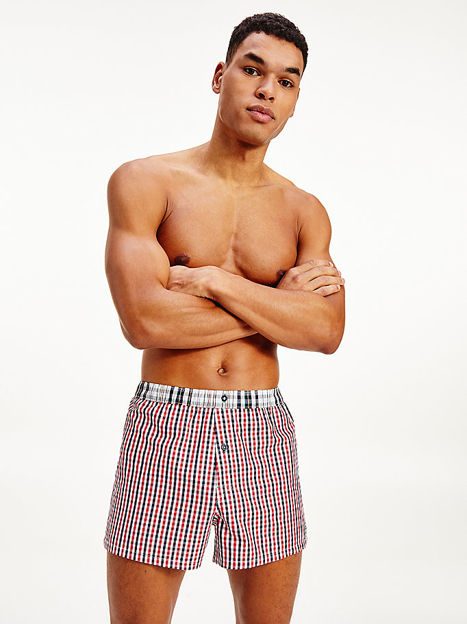 gold plaid woven boxers for men tommy hilfiger