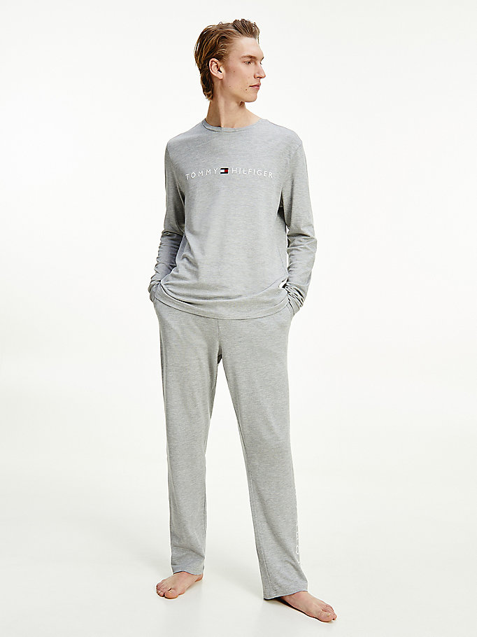 grey long sleeve logo tape pyjama set for men tommy hilfiger
