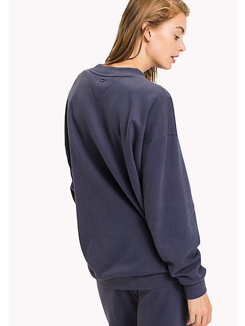 TOMMY HILFIGER Brushed Cotton Logo Jumper - NIGHTSHADOW BLUE - TOMMY HILFIGER Tops - detail image 1