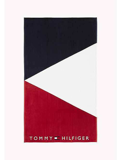 TOMMY HILFIGER Colour-Blocked Logo Towel - NAVY BLAZER/WHITE/TANGO RED - TOMMY HILFIGER VACATION FOR HER - main image