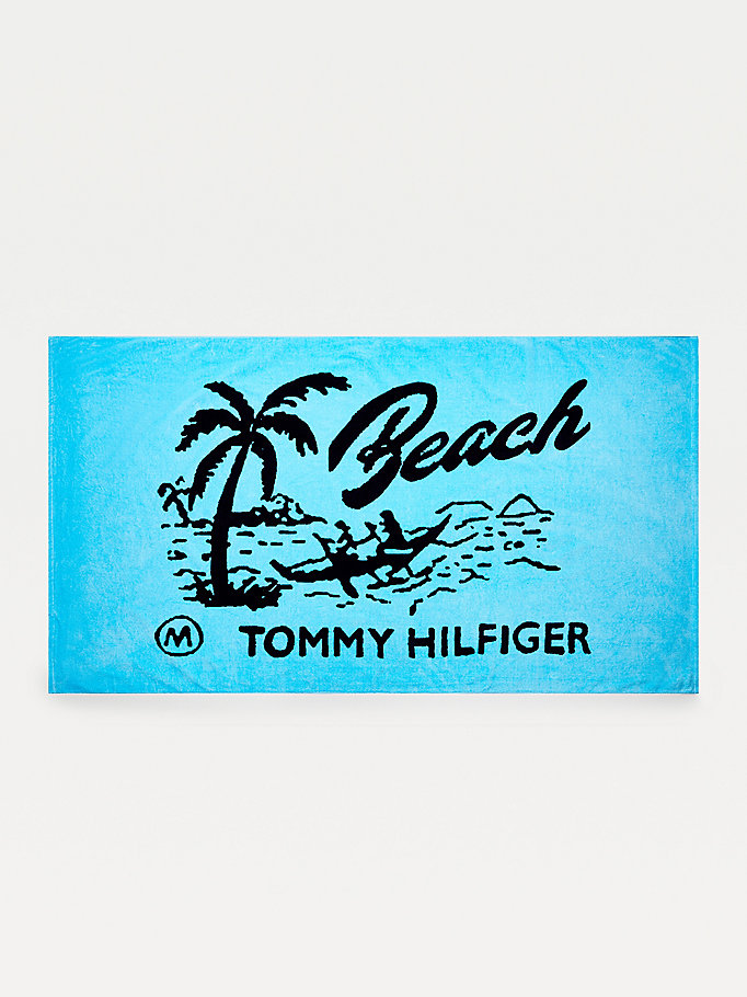 blue pure cotton logo beach towel for unisex tommy hilfiger