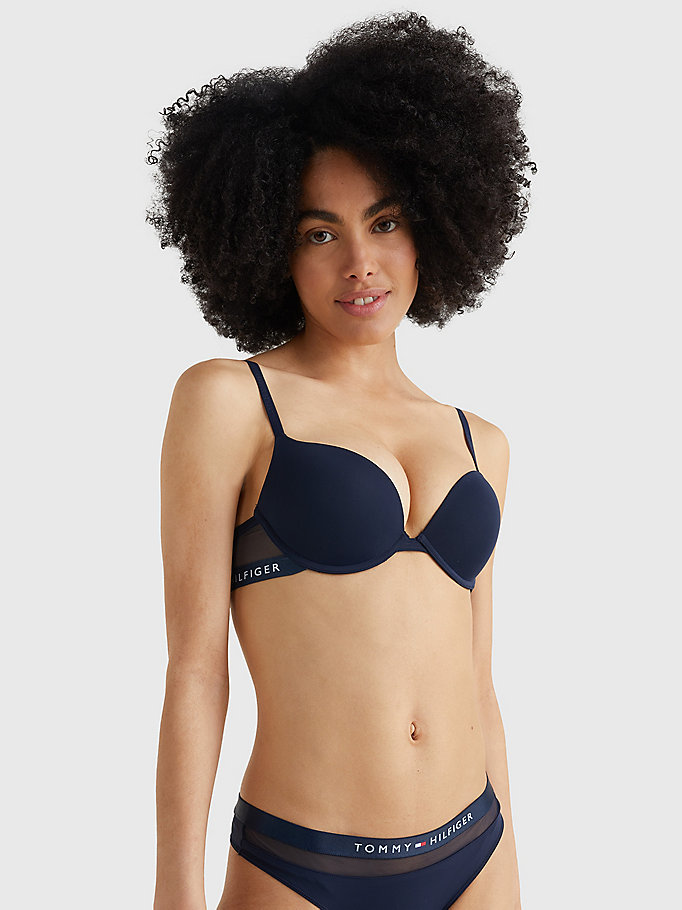 TOMMY HILFIGER Microfiber Push-up Bra - BLACK - TOMMY HILFIGER Clothing - main image