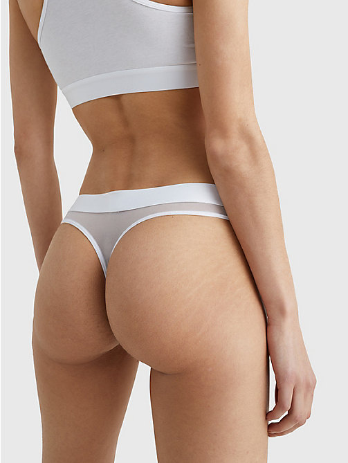 TOMMY HILFIGER Mesh Detail Thong - WHITE - TOMMY HILFIGER Briefs - detail image 1