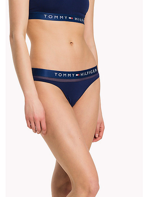 TOMMY HILFIGER Logo Mesh Insert Thong - BLUE DEPTHS - TOMMY HILFIGER Knickers - main image