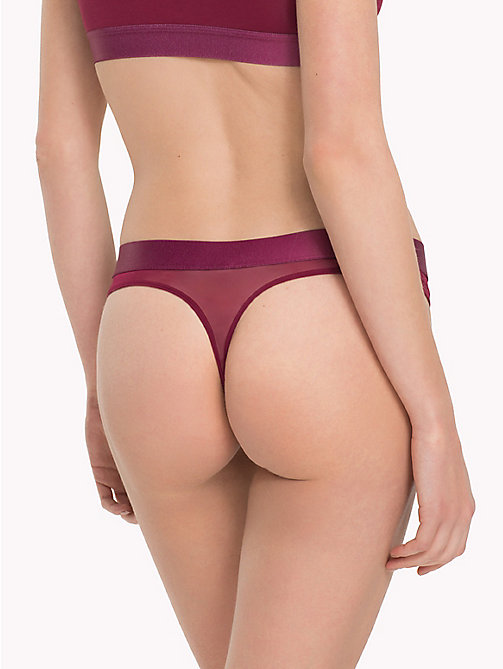 TOMMY HILFIGER Mesh Detail Thong - RHODODENDRON - TOMMY HILFIGER Lounge & Lingerie - detail image 1