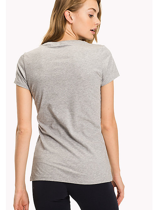 TOMMY HILFIGER Text Logo Regular Fit T-Shirt - GREY HEATHER - TOMMY HILFIGER Tops - detail image 1