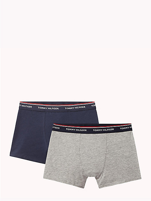 TOMMY HILFIGER Cotton 2 Pack Trunks - GREY HEATHER/NAVY BLAZER - TOMMY HILFIGER Two Packs - main image