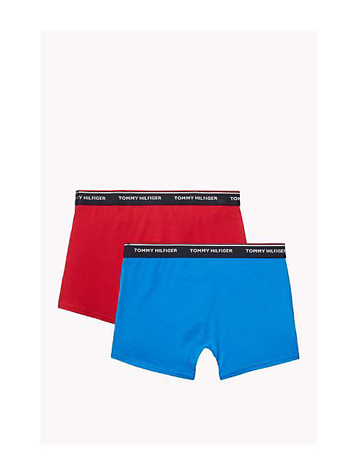 TOMMY HILFIGER Cotton 2 Pack Trunks - BRILLIANT BLUE / TANGO RED - TOMMY HILFIGER Two Packs - detail image 1