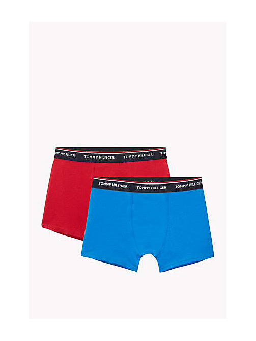 TOMMY HILFIGER Cotton 2 Pack Trunks - BRILLIANT BLUE / TANGO RED - TOMMY HILFIGER Two Packs - main image