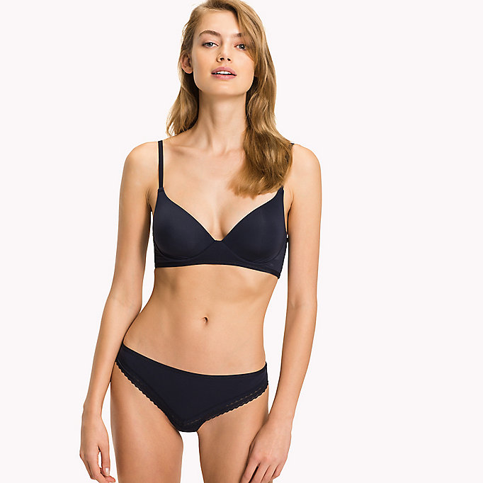 TOMMY HILFIGER Scalloped Trim Microfibre Bralette - GRAPE WINE - TOMMY HILFIGER Clothing - main image